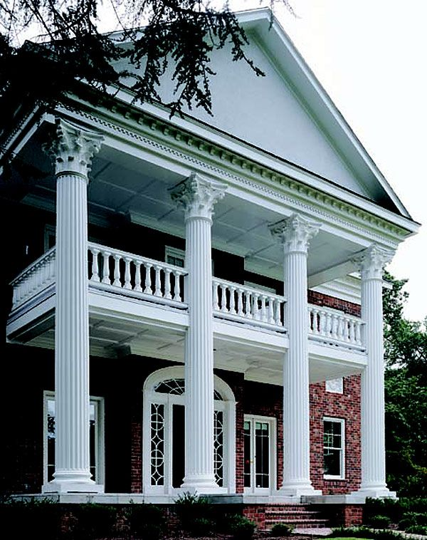 Architectural Columns Roman Corinthian Capitals & Cast Marble Attic Bases  Fluted Tapered Wooden Shafts 26