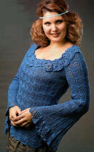 Синий пуловер. Модели для женщин
