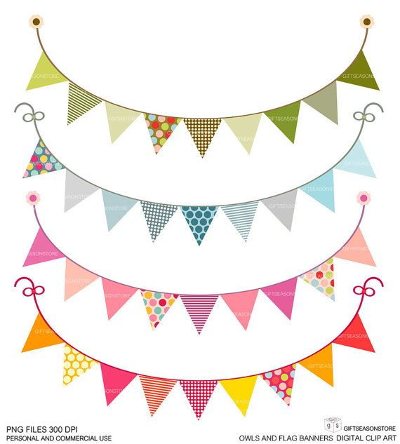 Owls And Flag Banners Digital Clip Art For Personal And Commercial Use Instant Download Happy Birthday Signs Flag Banners Art Trading Cards