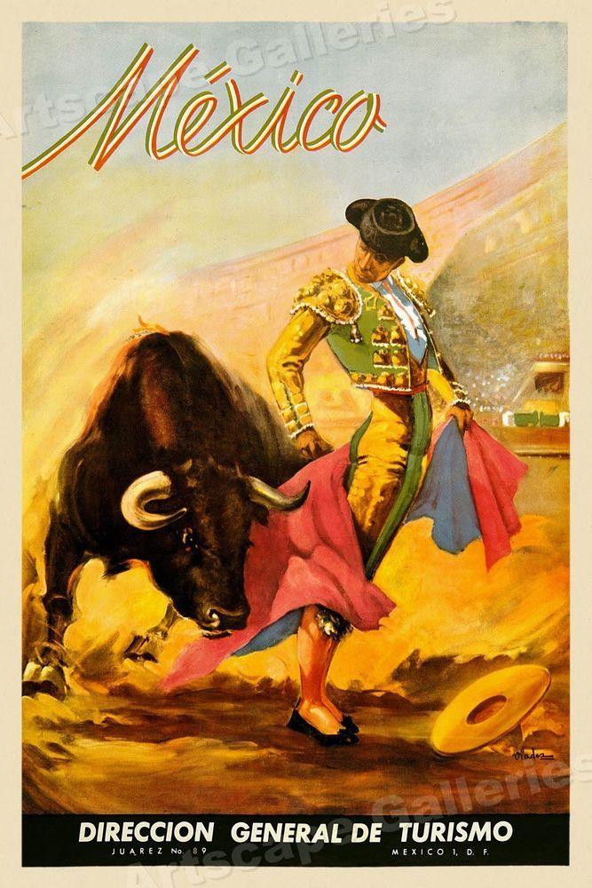 204996cee5c 1930 s Mexican Bullfighting Matador Vintage Style Travel Poster - 20x30   Vintage