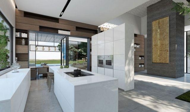 offene küche mit kochinsel und essbereich hochglanz weiße ... | {Moderne küchen mit kochinsel grundriss 28}