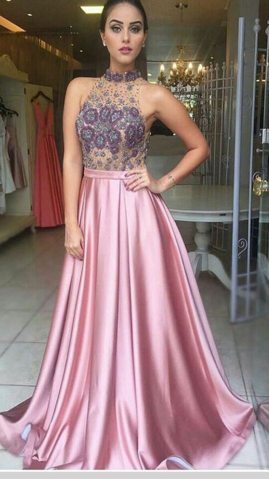Light Fuchsia Prom Dresses With Appliques High Neck Long Prom