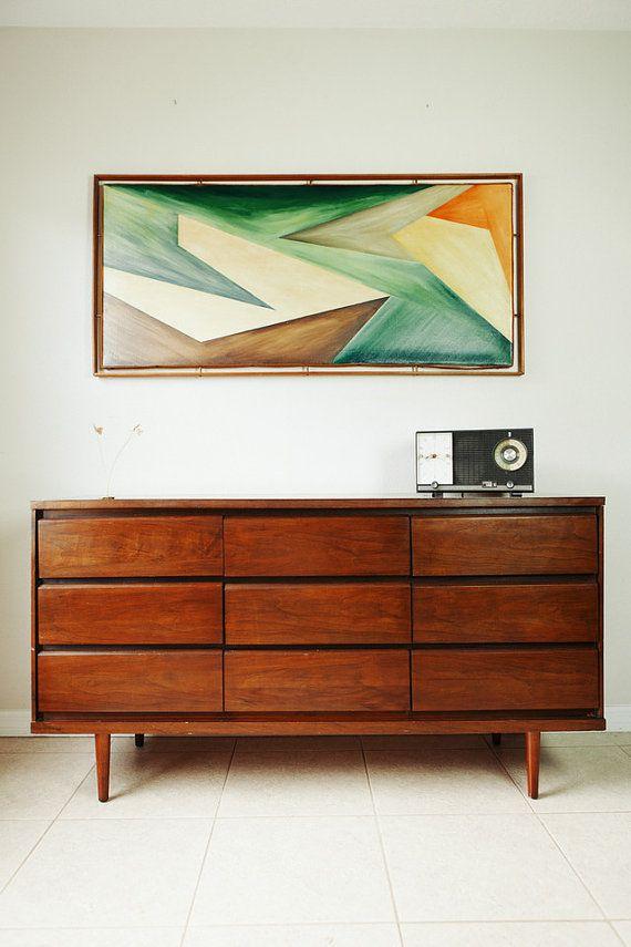 Mid Century Modern Triple Dresser Vintage By Retrotherapyrehab 395 00 Mid Century Modern Decor Mid Century Modern Interiors Modern Style Furniture