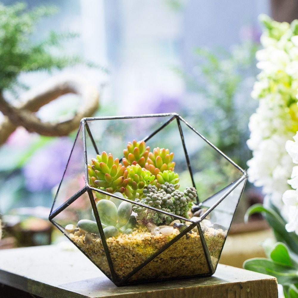 Tanie 17cm Tabletop Bowl Shape Geometric Glass Terrarium