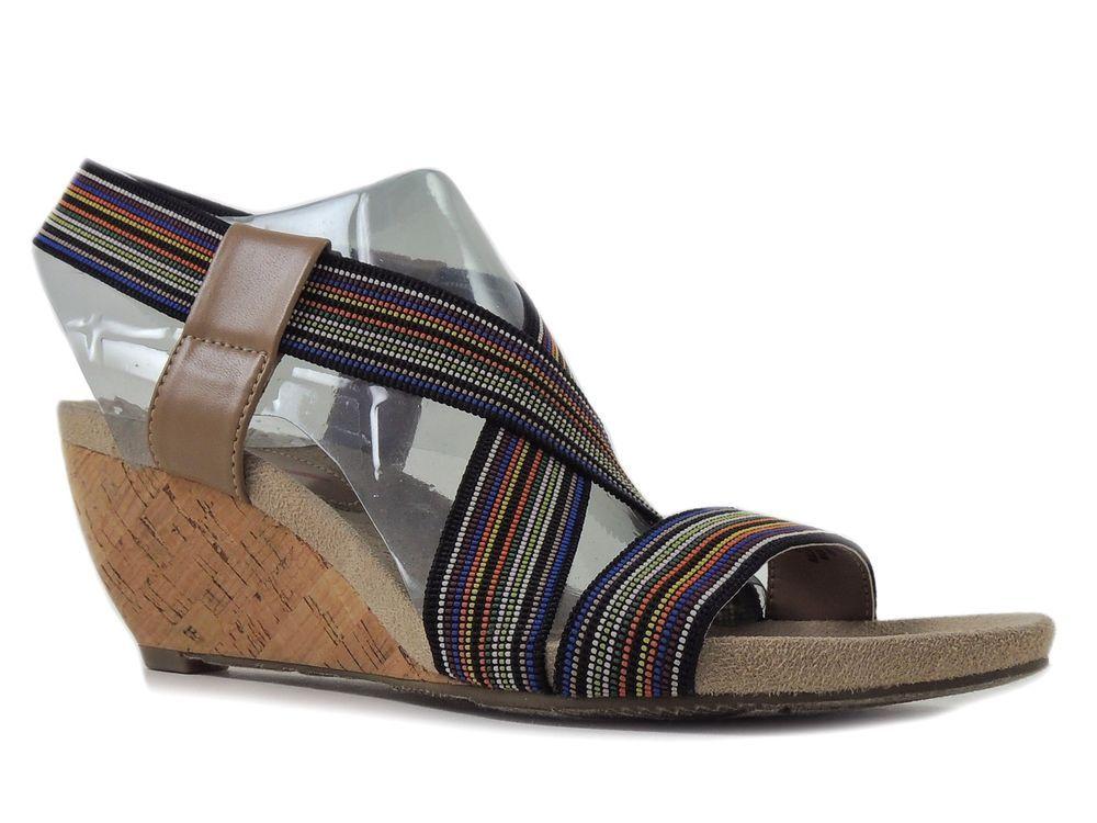 Anne Klein Women's Cooler Wedge Sandals Striped Fabric