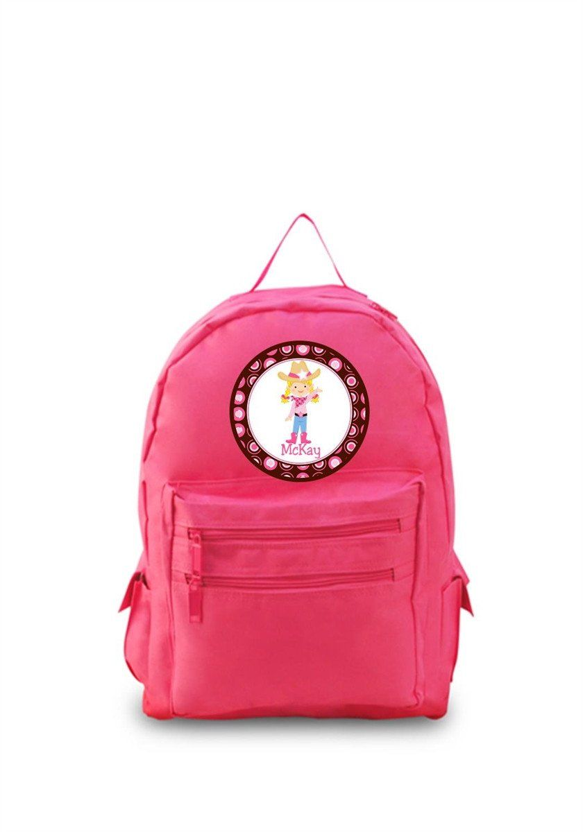 6773bed9fd84 This personalized pink backpack with is perfect for your next rodeo! 600  Denier Polyester Decorated