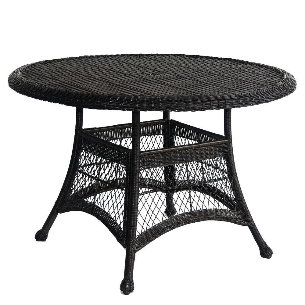 Black Resin Wicker 44 5 Inch Outdoor Dining Patio Table