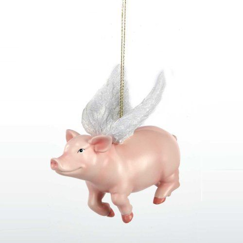 Pack of 8 Pink and White Flying Pig Christmas Ornaments 4 | Piggies ...