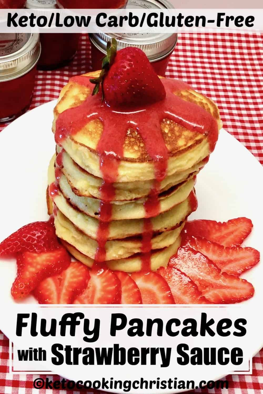 Fluffy Pancakes With Strawberry Sauce Keto Low Carb Gluten