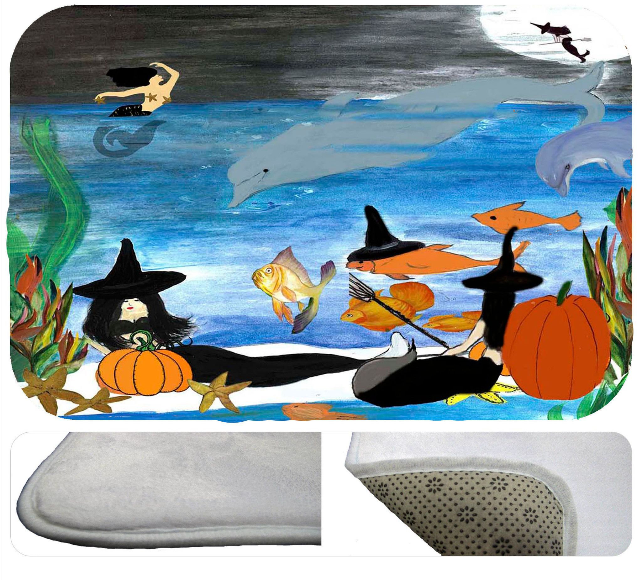 Halloween mermaid witch beach party kitchen,shower or bath mat ...
