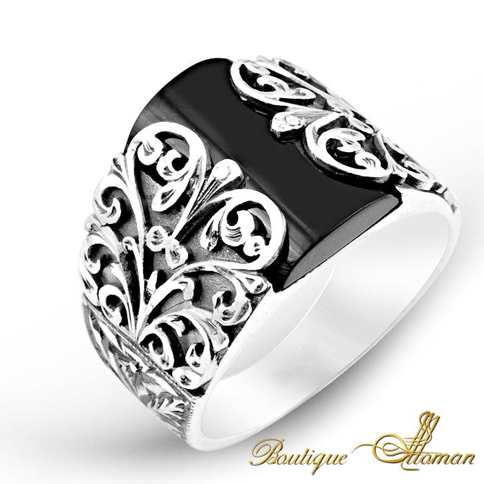stylish Hand Made Silver Man Ring Ivy Onxy Stone #jewelry #ottoman ...