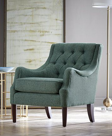 Furniture Glenis Tufted Accent Chair Reviews Chairs Furniture Macy S In 2020 Tufted Accent Chair Accent Chairs Dining Room Chair Cushions