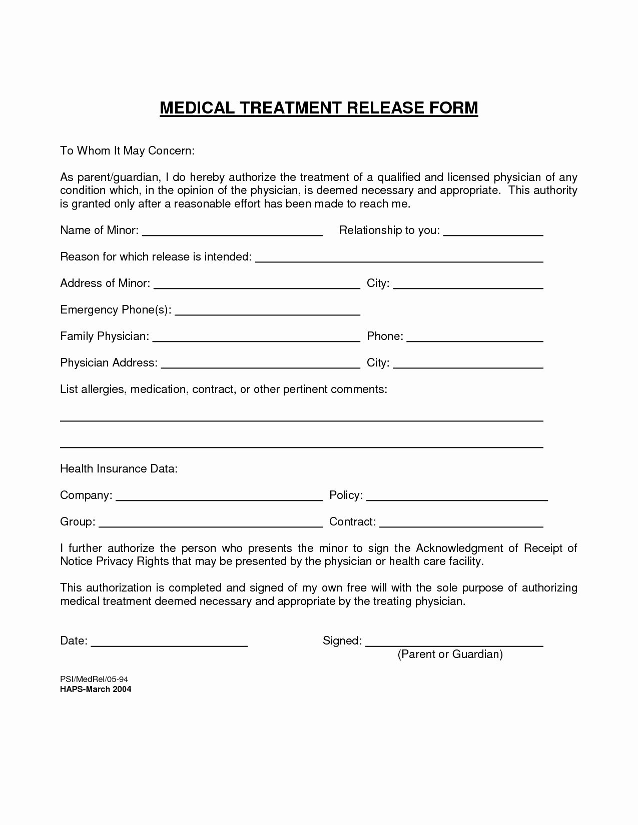 Emergency Room Release form Template Unique 30 Medical