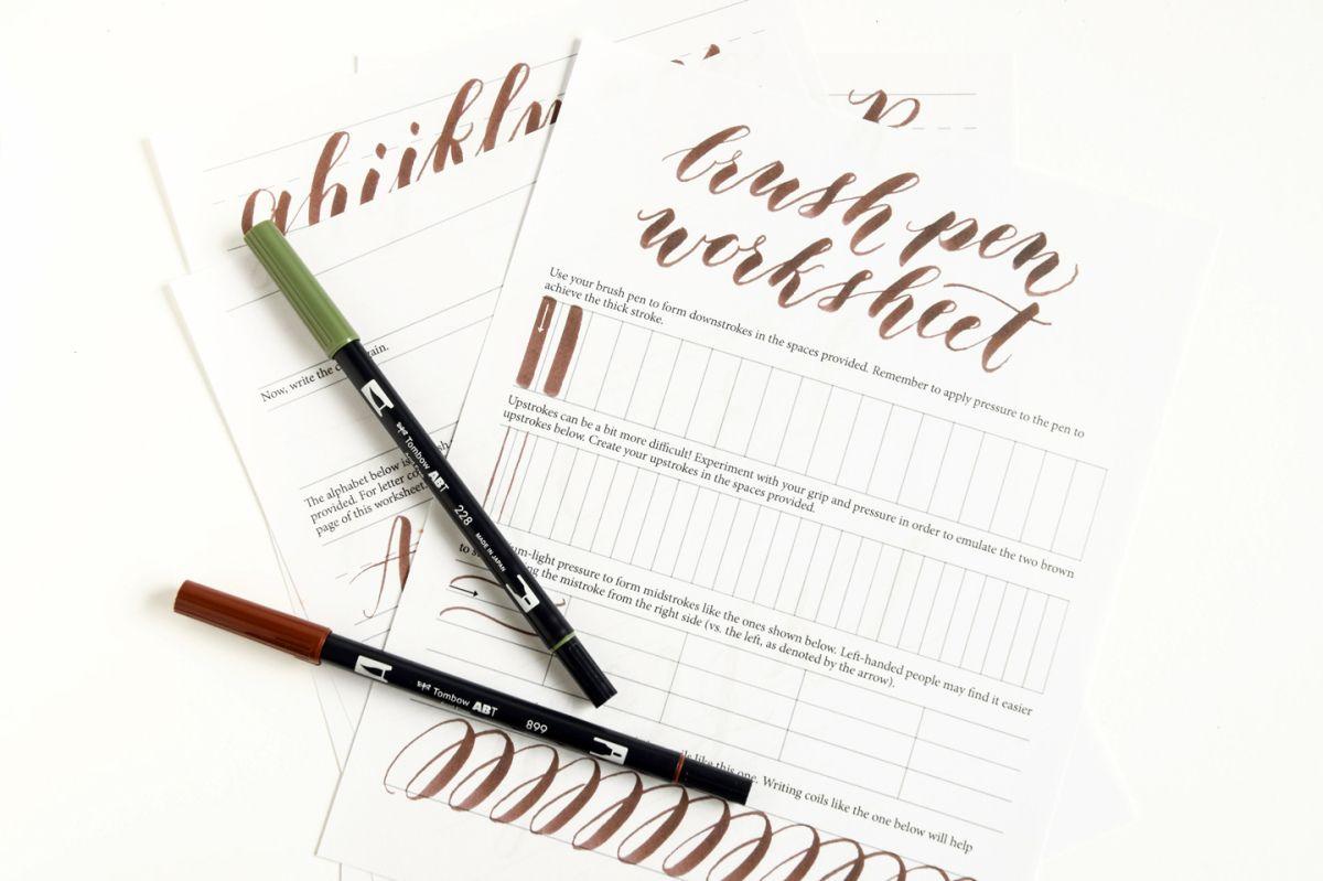 Free Brush Pen Calligraphy Worksheet Brush Pen