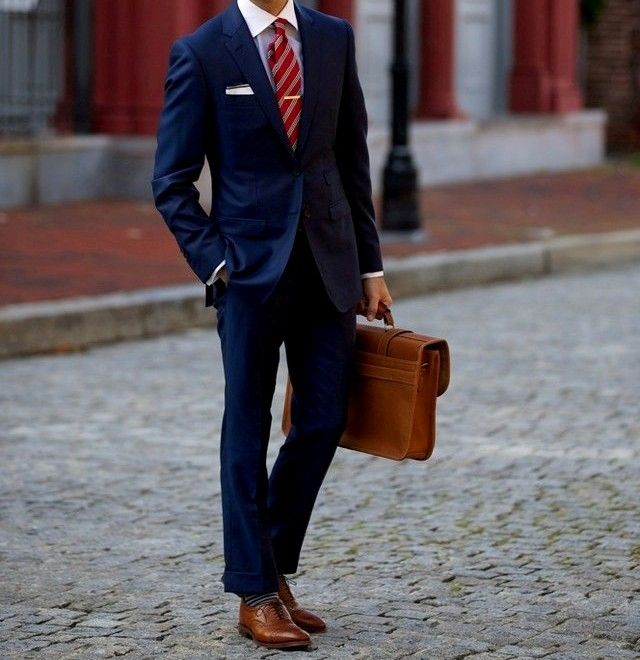 http://yoodey.com/navy-suit-brown-shoes-red-tie/ | Best Shoes ...