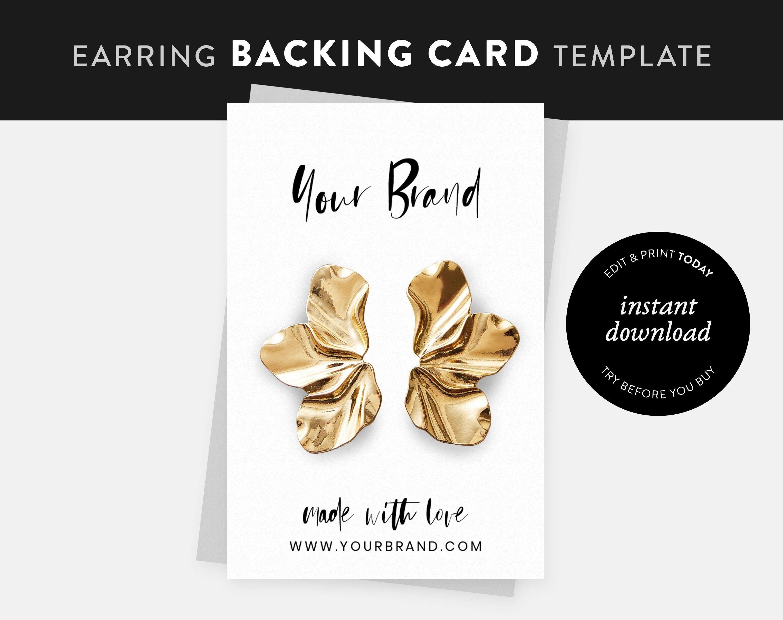 Earring Backing Card Template Printable Backing Card Etsy Card Templates Printable Card Template Template Printable
