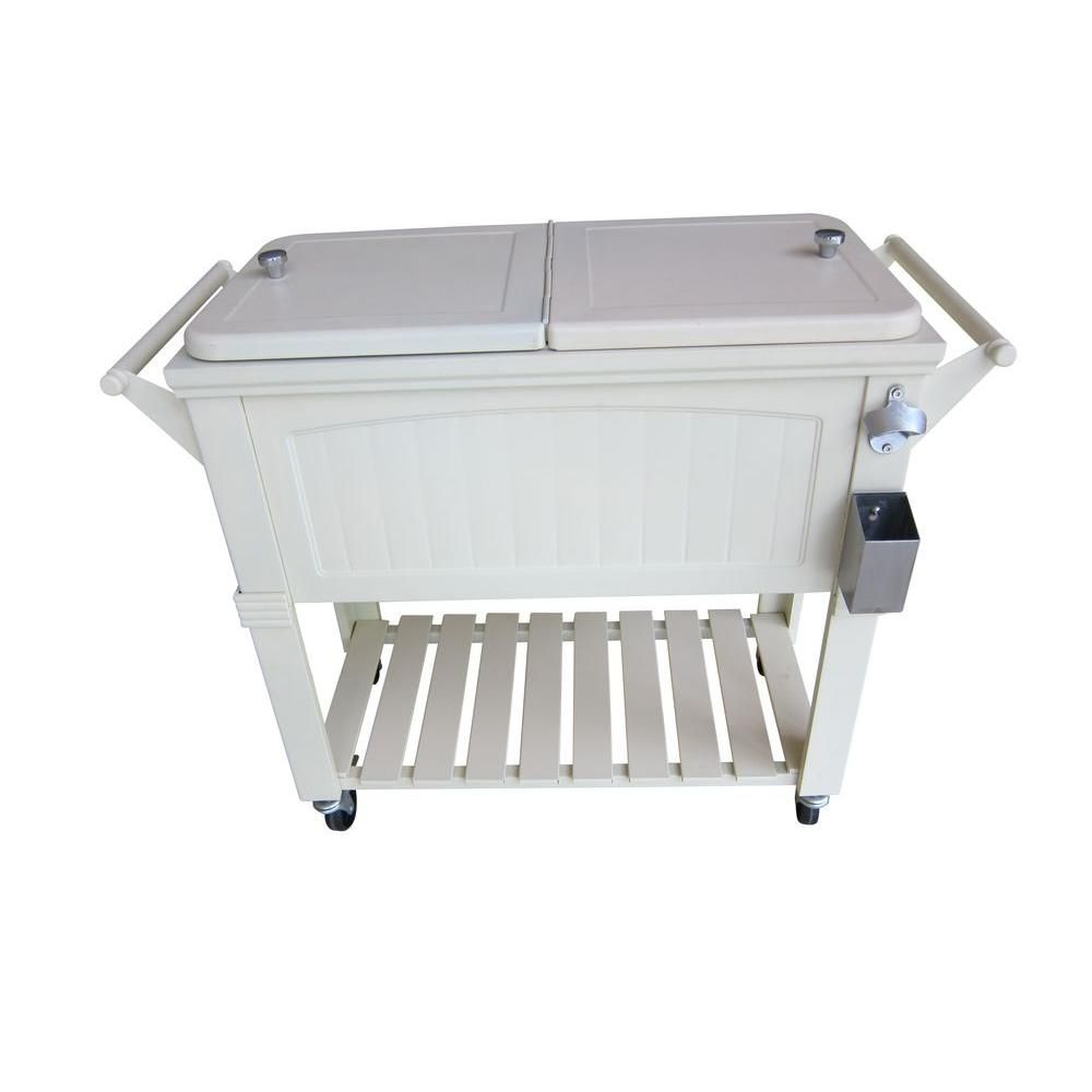 Permasteel 80 Qt. Rolling Patio Cooler Cream Furniture Style