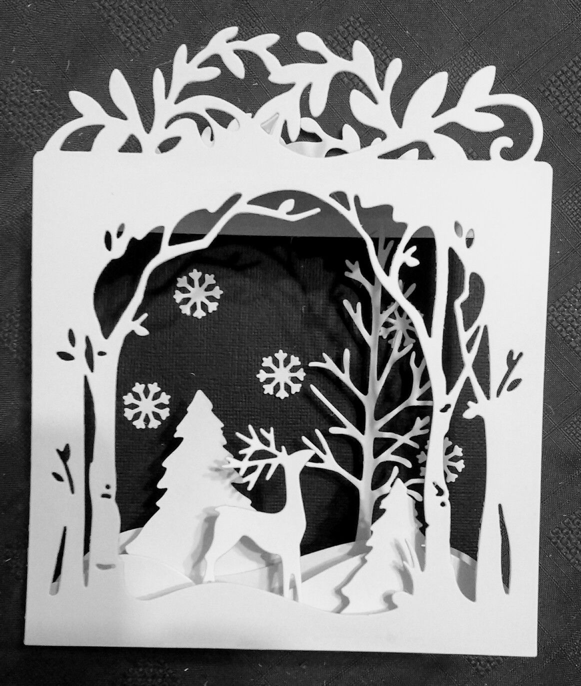 Sizzix Holiday Shadow Box die used to make a white and black ...