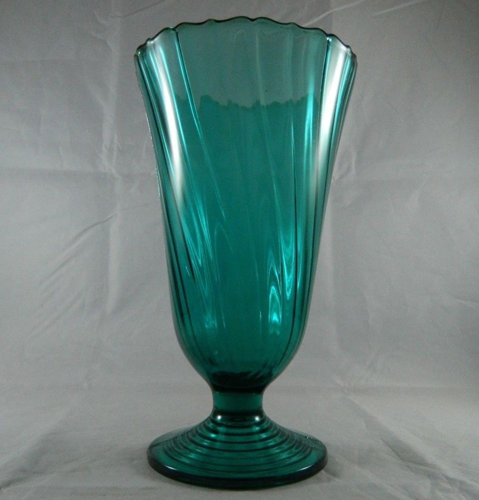 Vintage depression glass jeannette ultramarine blue green footed vintage depression glass jeannette ultramarine blue green footed swirl vase flat floridaeventfo Gallery