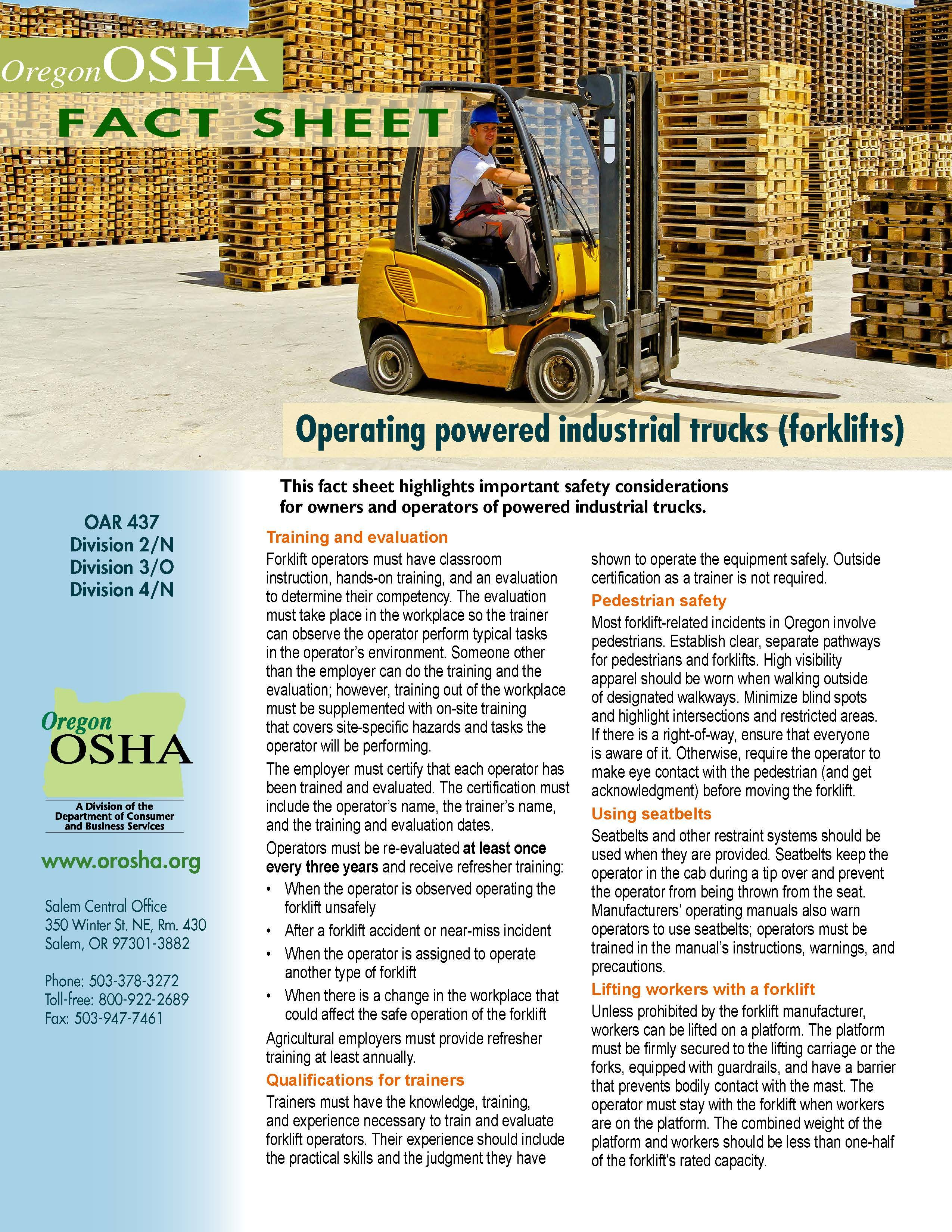 Operating powered industrial trucks (forklifts), by the Oregon Occupational Safety and Health Division