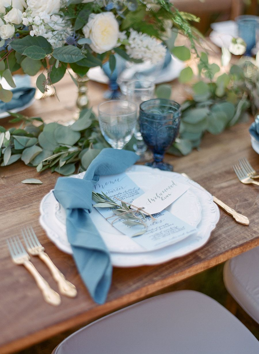 Pin By Style Me Pretty On Wedding Plates And Dishes Wedding Table Place Settings Soft Blue Wedding Wedding Table Places