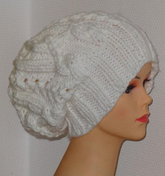 Handmade Knit Cable Hat Beanie Slouchy Hat Beanie Large by Ifonka, $28.00