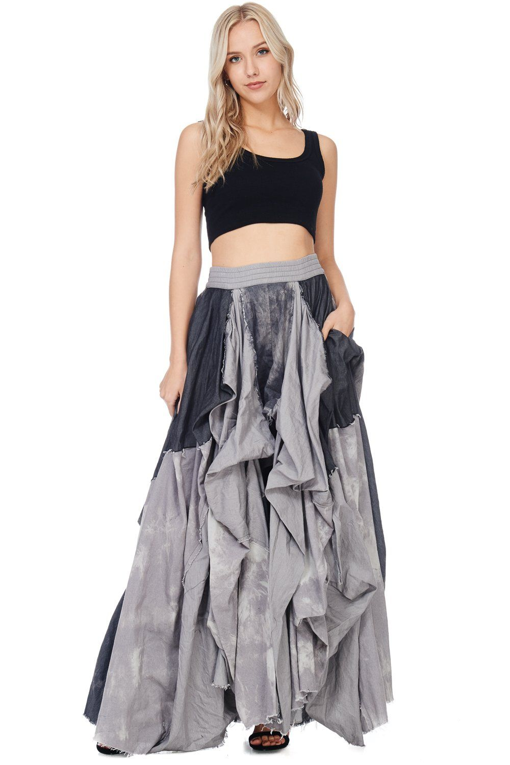 781d2355937d The denim maxi skirt is back in with vengeance in Black! Floor length maxi  skirt with 2 denim side pockets and ruffled pleats. Add this Edgy-Chic  Piece to ...