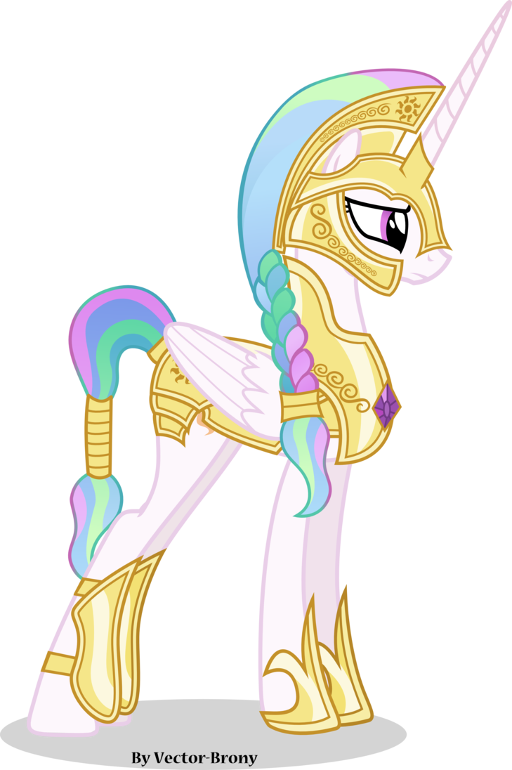 Princess Celestia Going To War With Helmet By Vector Brony On