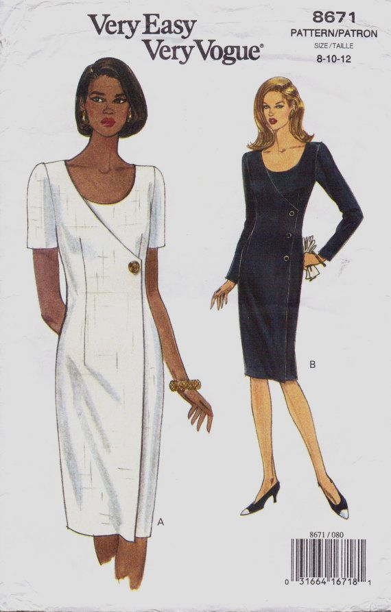 90s Very Easy Very Vogue Sewing Pattern 8671 Womens Asymmetrical ...