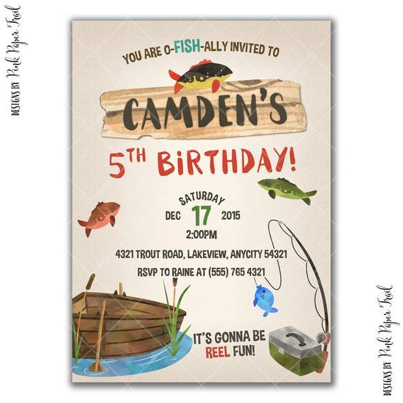 Gone Fishing Party Invitation Birthday Outdoor Printable I Will C