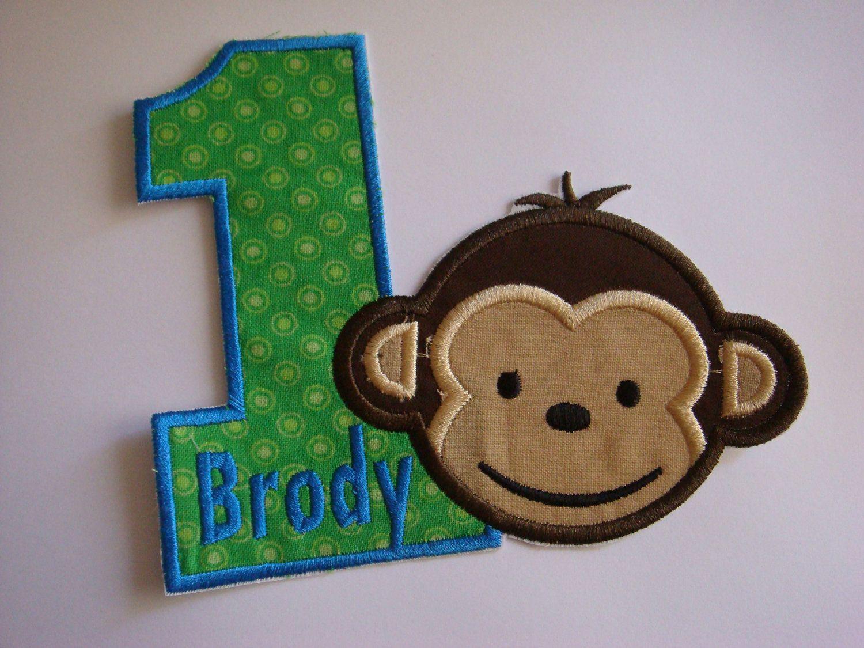Birthday Iron On Applique Patch Boy Mod Monkey Numbers Etsy Mod Monkey Birthday Sock Monkey Birthday Party Monkey Birthday Parties