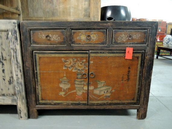 Antique Chinese Storage Cabinet Console Or Media In Rustic Orange By Modernredla 1190 00