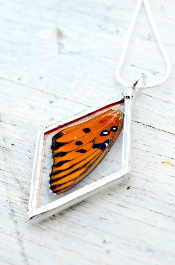 Butterfly wing resin pendant real insect necklace
