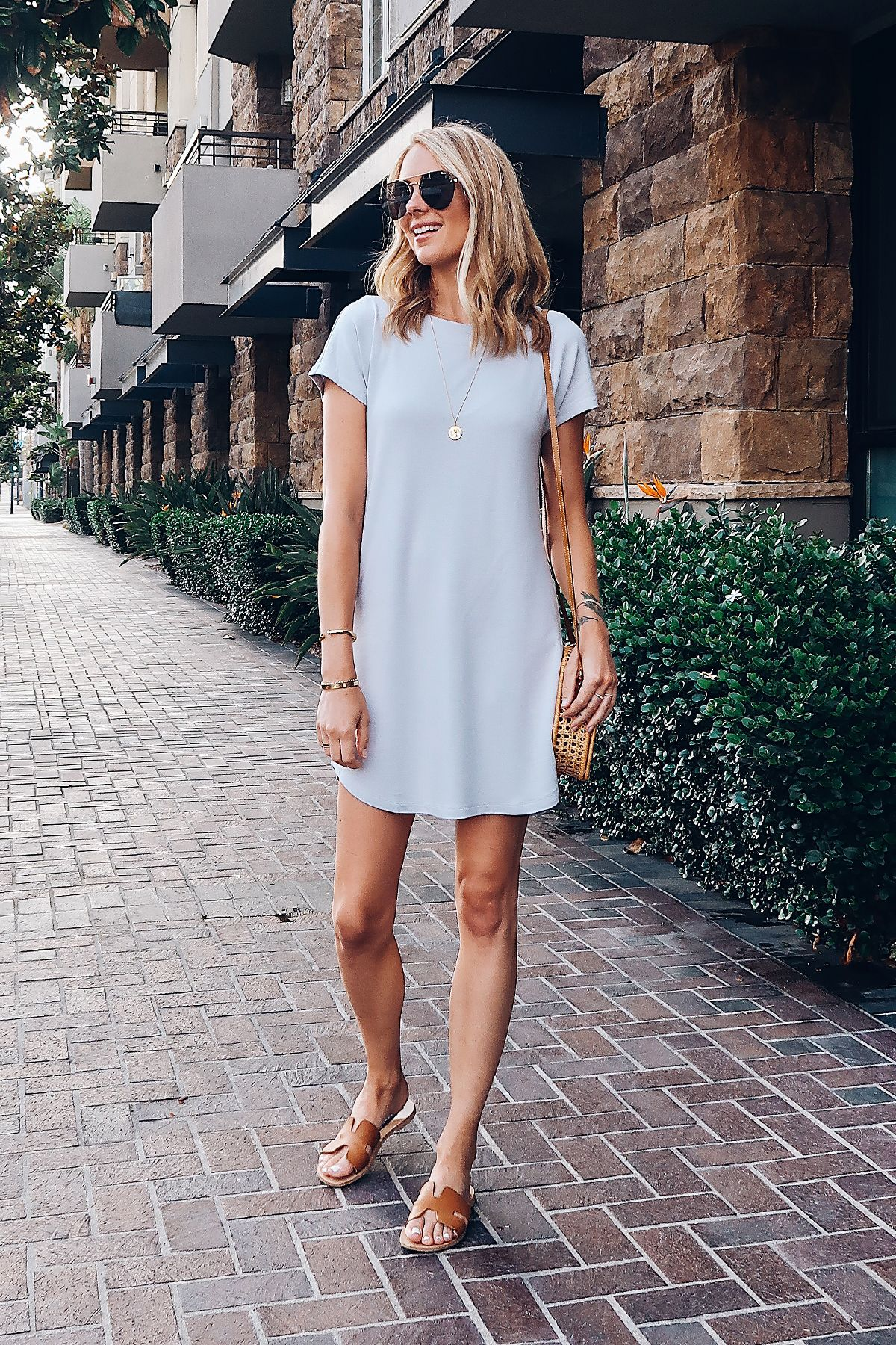228948e2451 Blonde Woman Wearing Lou   Grey Tshirt Dress Circle Basket Handbag Aviator  Sunglasses Steve Madden Greece Sandals Tan Fashion Jackson San Diego  Blogger ...
