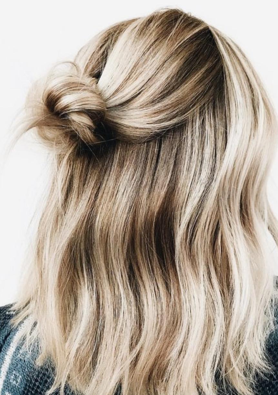 Short Hair Half Bun Waves Fashiontrendshair Hair Styles Curly Hair Styles Hair Looks