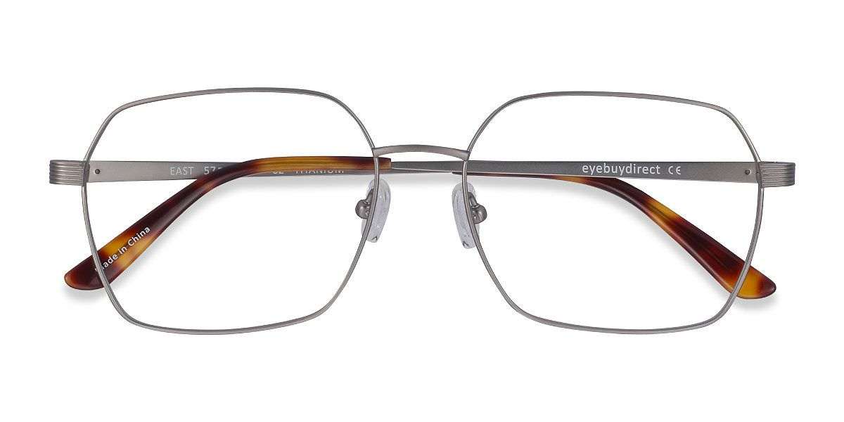 Gunmetal square eyeglasses available in variety of colors to match any outfit. These stylish full-rim, large sized titanium eyeglasses include free single-vision prescription lenses, a case and a cleaning cloth.