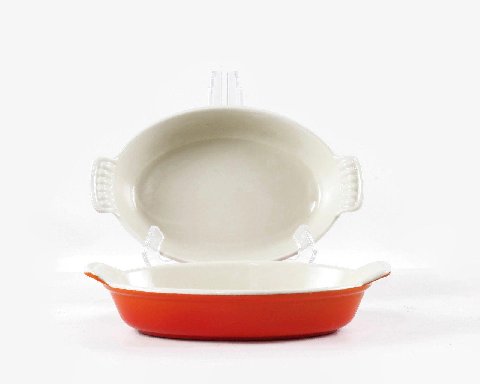 Vintage Le Creuset Enamel Cast Iron Oval Baking Dish 20 In Flame Orange Au Gratin Casserole Pan Choice Of Two Baked Dishes Au Gratin Creuset Le creuset oval baking dish