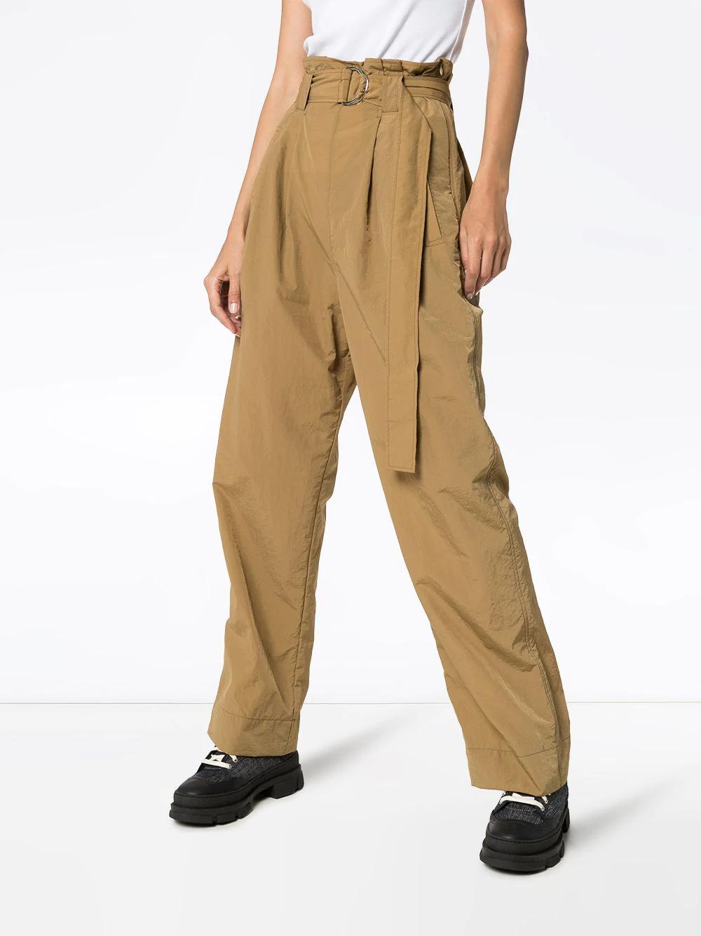 Ganni Pantalones De Tiro Alto Con Cinturon Farfetch Pantalon Tiro Alto Vintage Ropa Hombre Pantalones