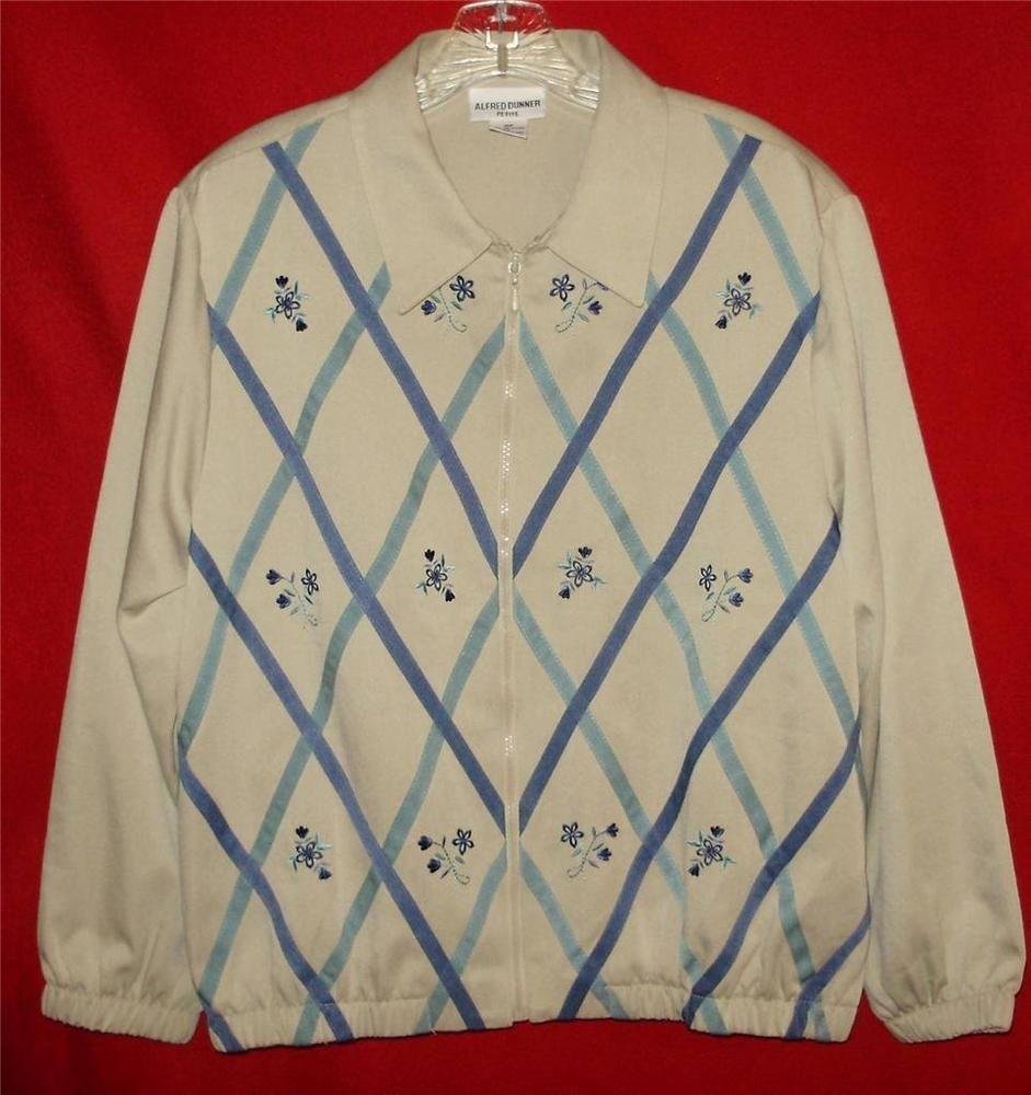 Womens fall jacket-16P-Alfred Dunner-Tan & Blue floral-Free Shipping 2 USA #AlfredDunner #lightfalljacket