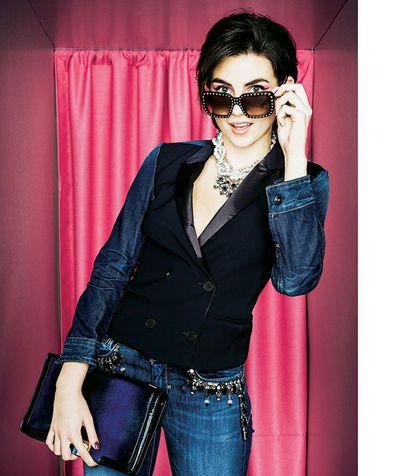 blazer nero e jeans