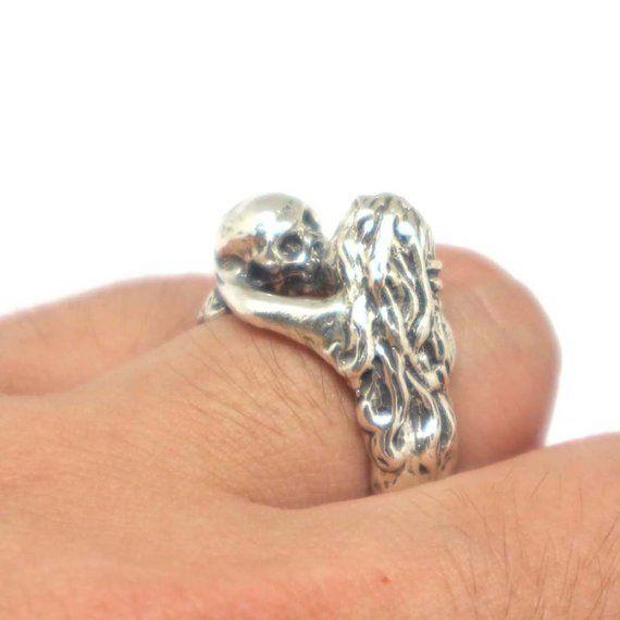 7faec05e766d79 Silver Skull Kissing Women Ring - Skull Ring, Skull Jewelry, Gothic Ring,  Unique Fun Ring, Skeleton