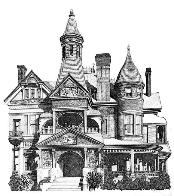 Pen And Ink Stippled Victorian House Drawing