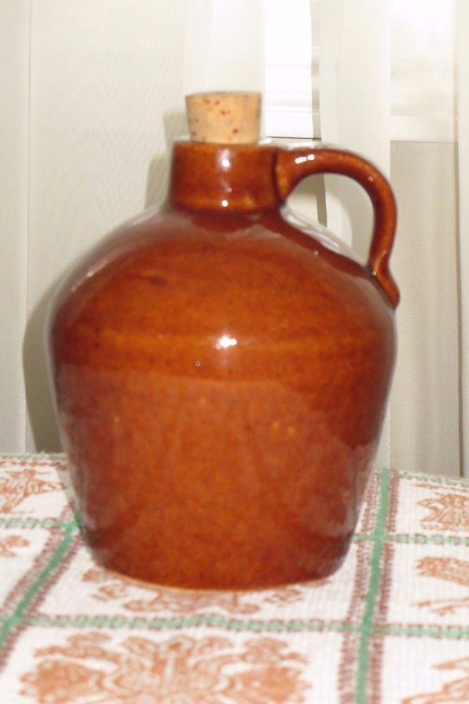 "COUNTRY KITCHEN Old Brown Glazed 5.5"" Stoneware Jug w Cork RUSTIC CABIN COTTAGE"