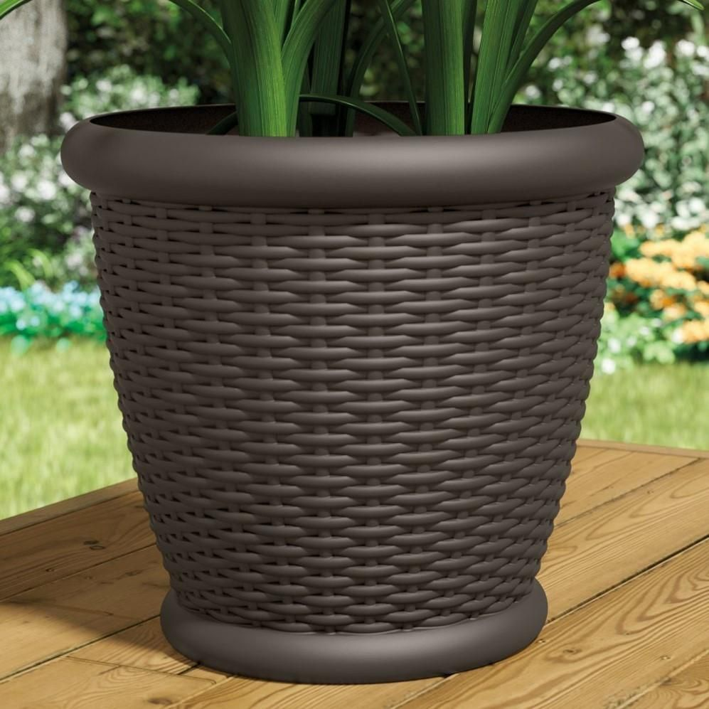 Resin Wicker Molded Construction Java Color Drillable Drain Hole Includes 2 Matching Planters