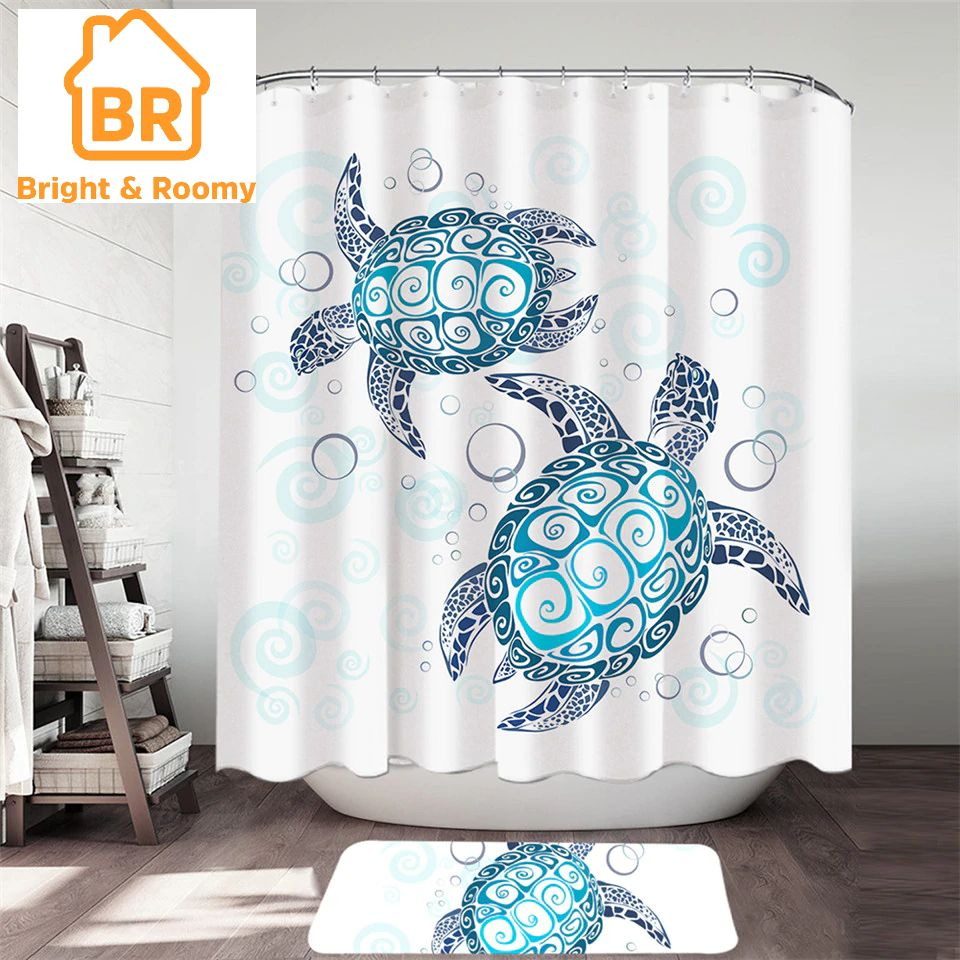 Turtles Shower Curtain Bath Mat Set 2pcs Bath Mat Sets