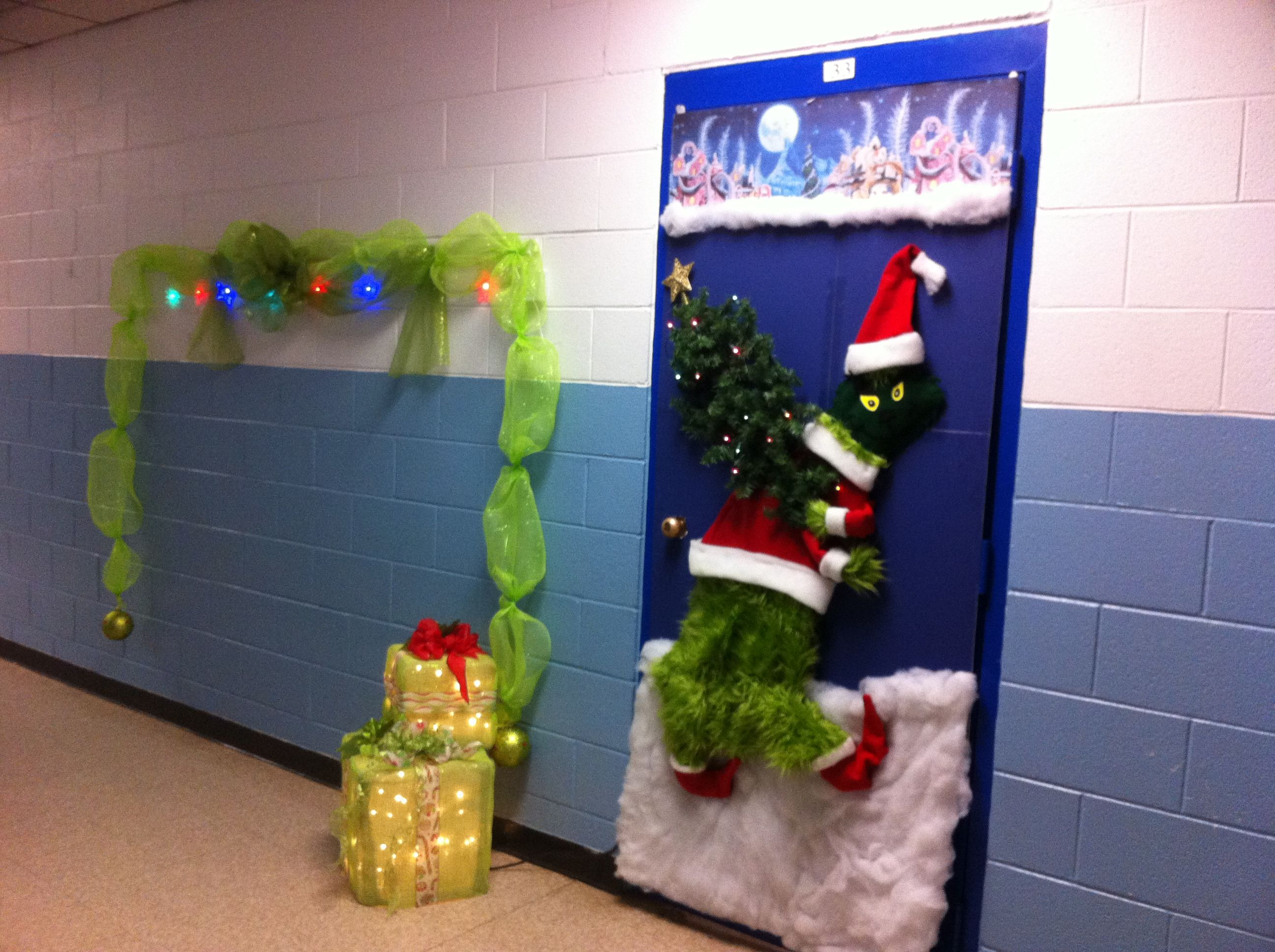 Grinch door decorating contest entry. | Christmas door ...