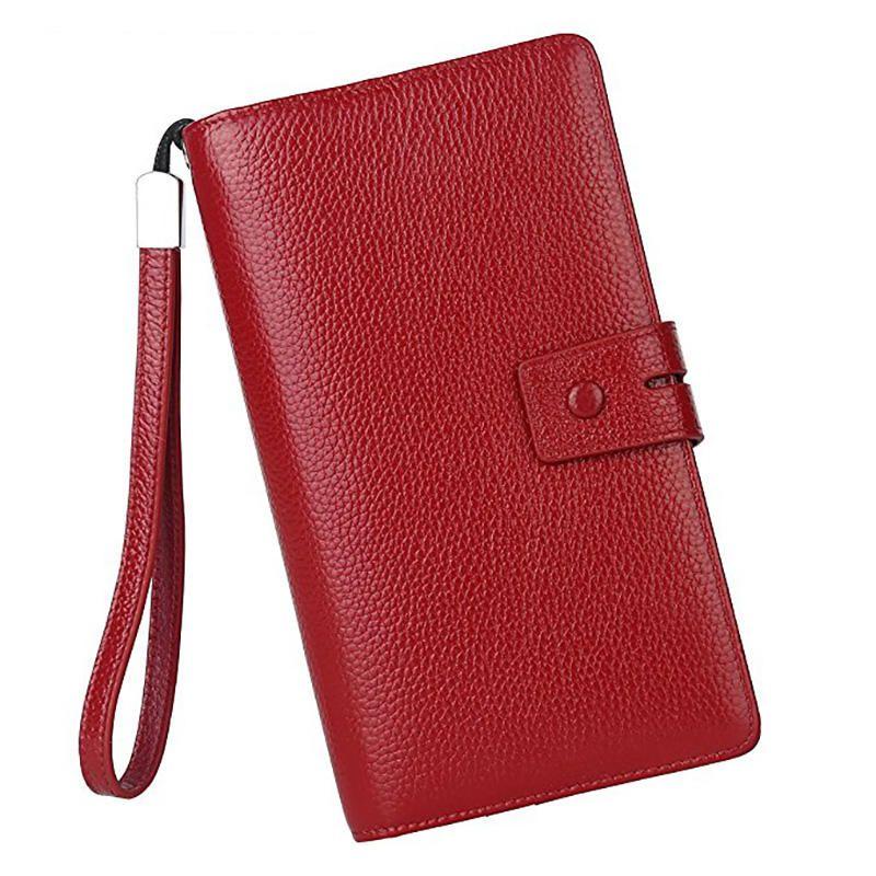 3734e76e2318 Brenice Women Cowhide 19 Card Slots Vintage Hasp RFID Clutch Bag Long Purse