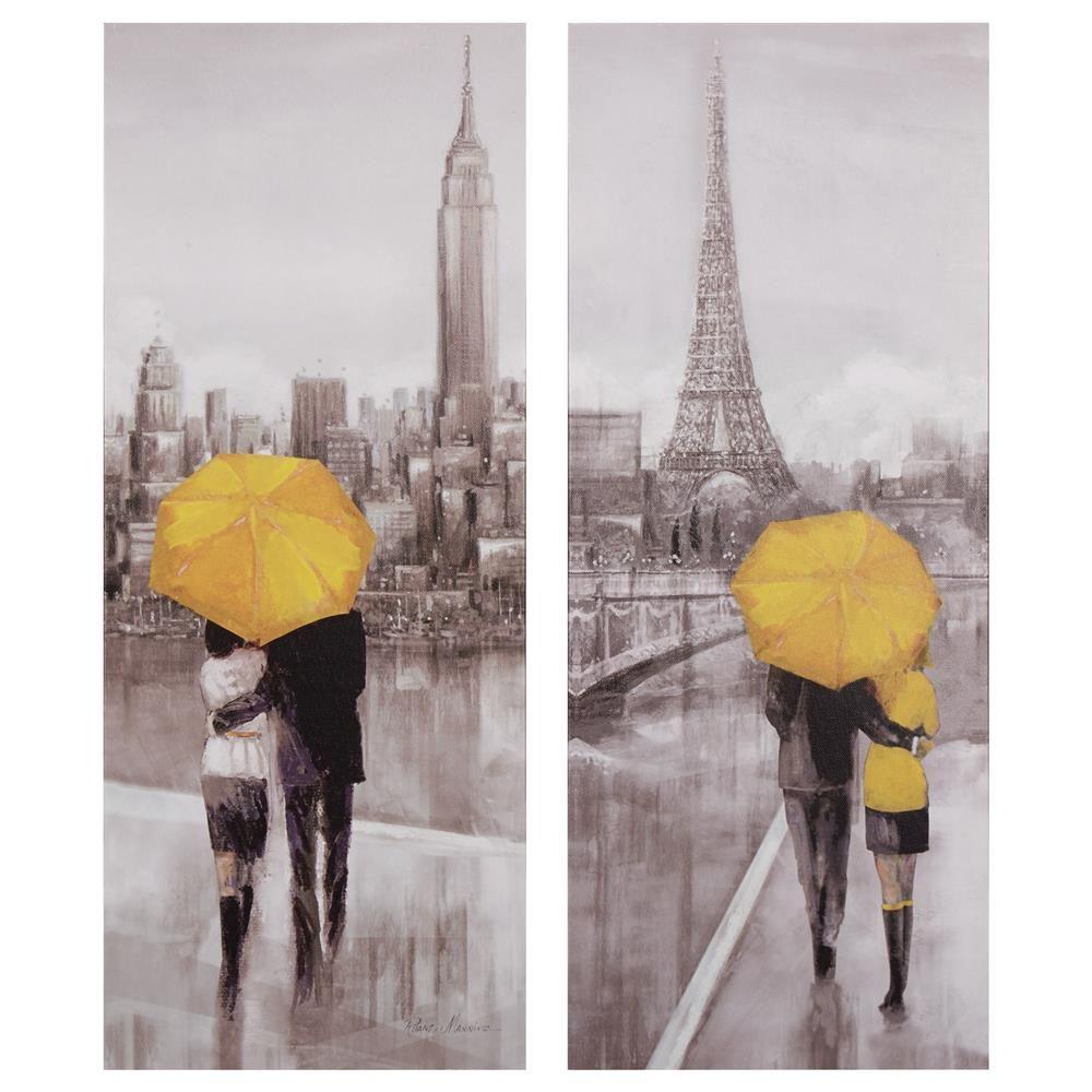 Ensemble De 2 Tableaux Promenade Dans Paris Et New York