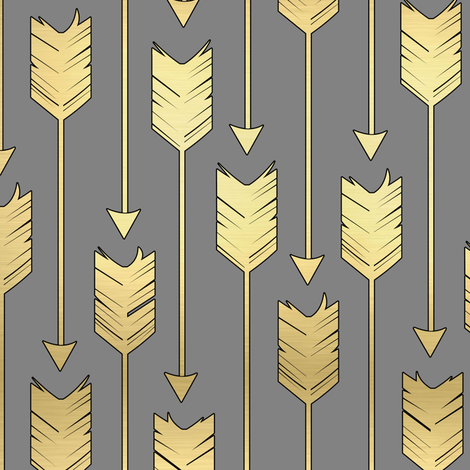 Colorful Fabrics Digitally Printed By Spoonflower Tribal Arrows Pattern Fabric Grey And Golden Arrow Fabric Arrow Pattern Fabric