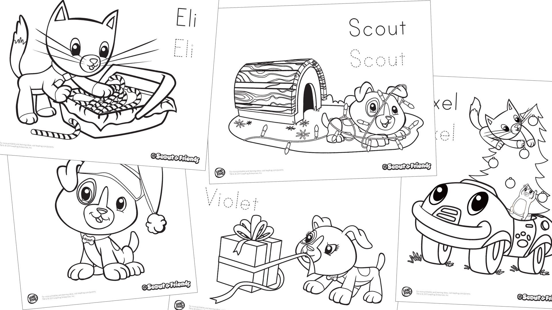 Scout Amp Friends Winter Holiday Coloring Pack Scout Amp Friends Are Spreading Good Cheer In This 6